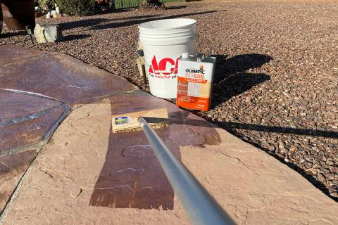 (Norma Vally) Sealing natural stone pavers will help protect them against the harsh desert sun ...