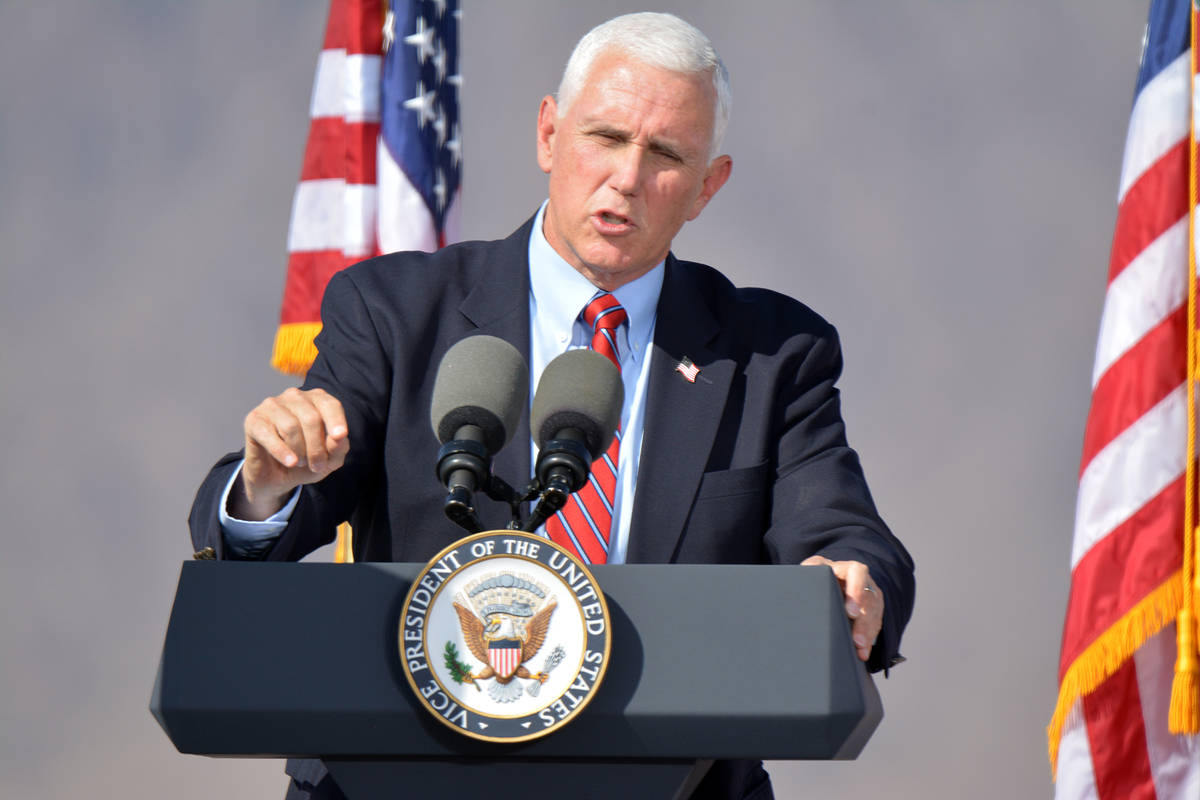 Celia Shortt Goodyear/Boulder City Review Vice President Mike Pence tells attendees at a rally ...