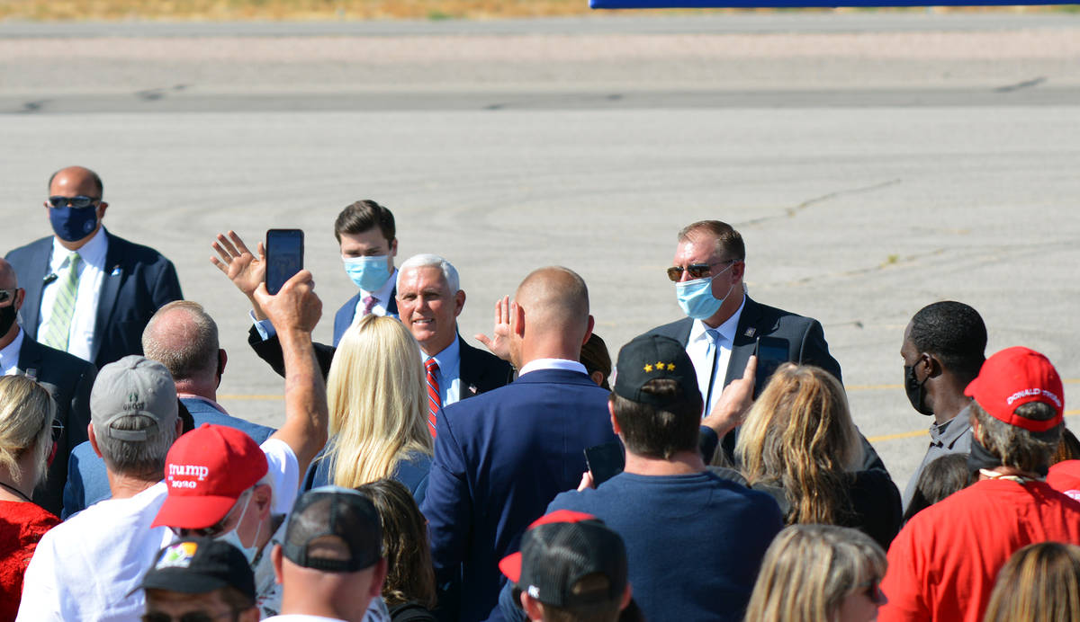 Celia Shortt Goodyear/Boulder City Review Vice President Mikel Pence greets the crowd after his ...