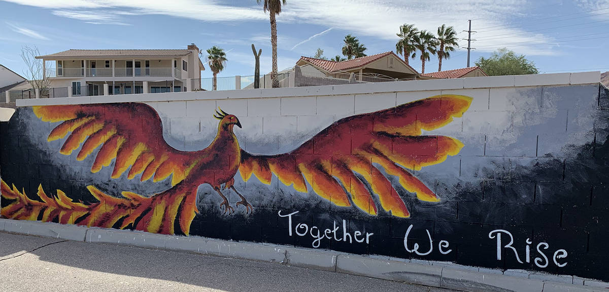 (Hali Bernstein Saylor/Boulder City Review) A phoenix is depicted on one of the murals unveiled ...