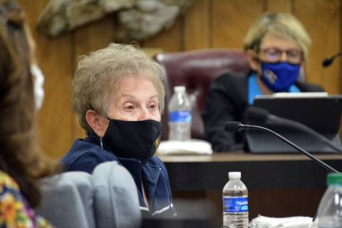 Celia Shortt Goodyear/Boulder City Review City Councilwoman Judy Hoskins listens to a presentat ...
