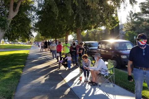 Celia Shortt Goodyear/Boulder City Review Residents lined up to cast their vote at City Hall on ...