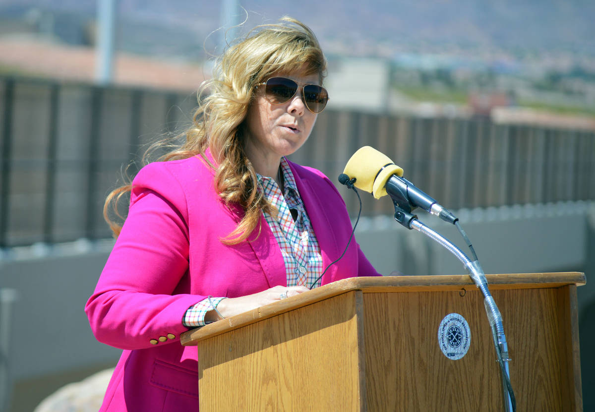 Boulder City Chamber of Commerce CEO Jill Rowland-Lagan, seen during ceremonies for The Final S ...