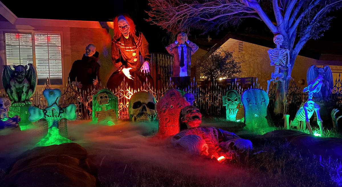 (Mike Pacini) The Pacini home, 653 Arrayo Way, is all decked out for Halloween with a graveyard ...