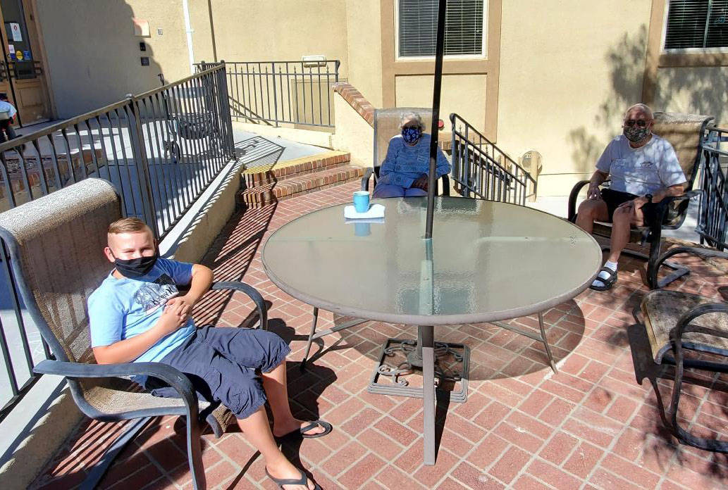 (Lakeview Terrace of Boulder City) Nick Thor, left, stopped by Lakeview Terrace of Boulder City ...