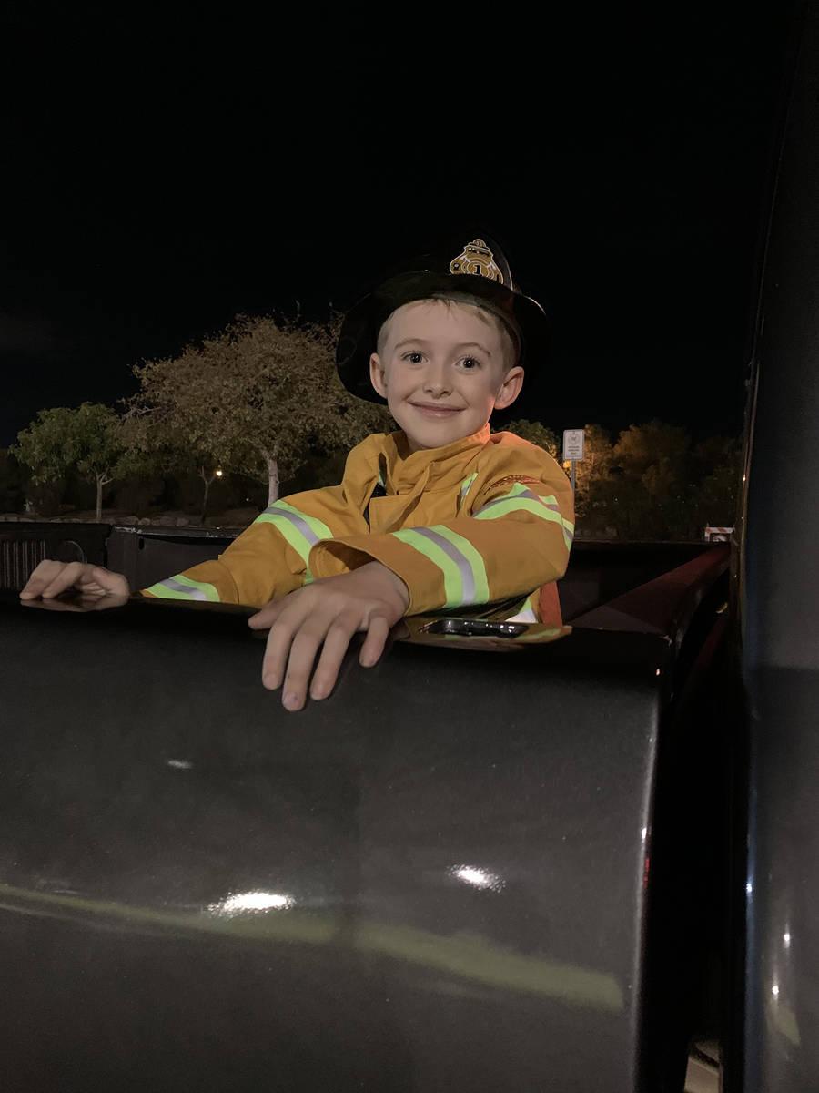 (Hali Bernstein Saylor/Boulder City Review) Colston Crosson, 6, came dressed as a fireman at Sa ...