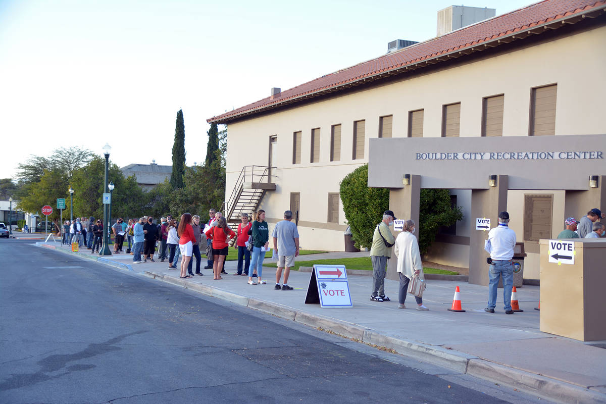 Celia Shortt Goodyear/Boulder City Review Registered voters were lined up and ready to cast the ...