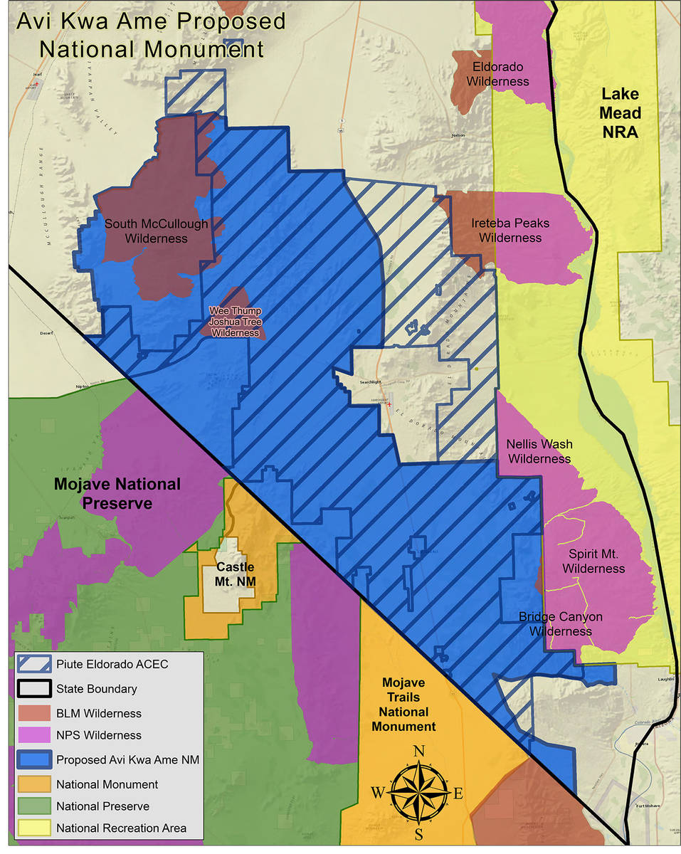 (Honor Spirit Mountain) This map shows the boundaries of the proposed Avi Kwa Ame National Monu ...