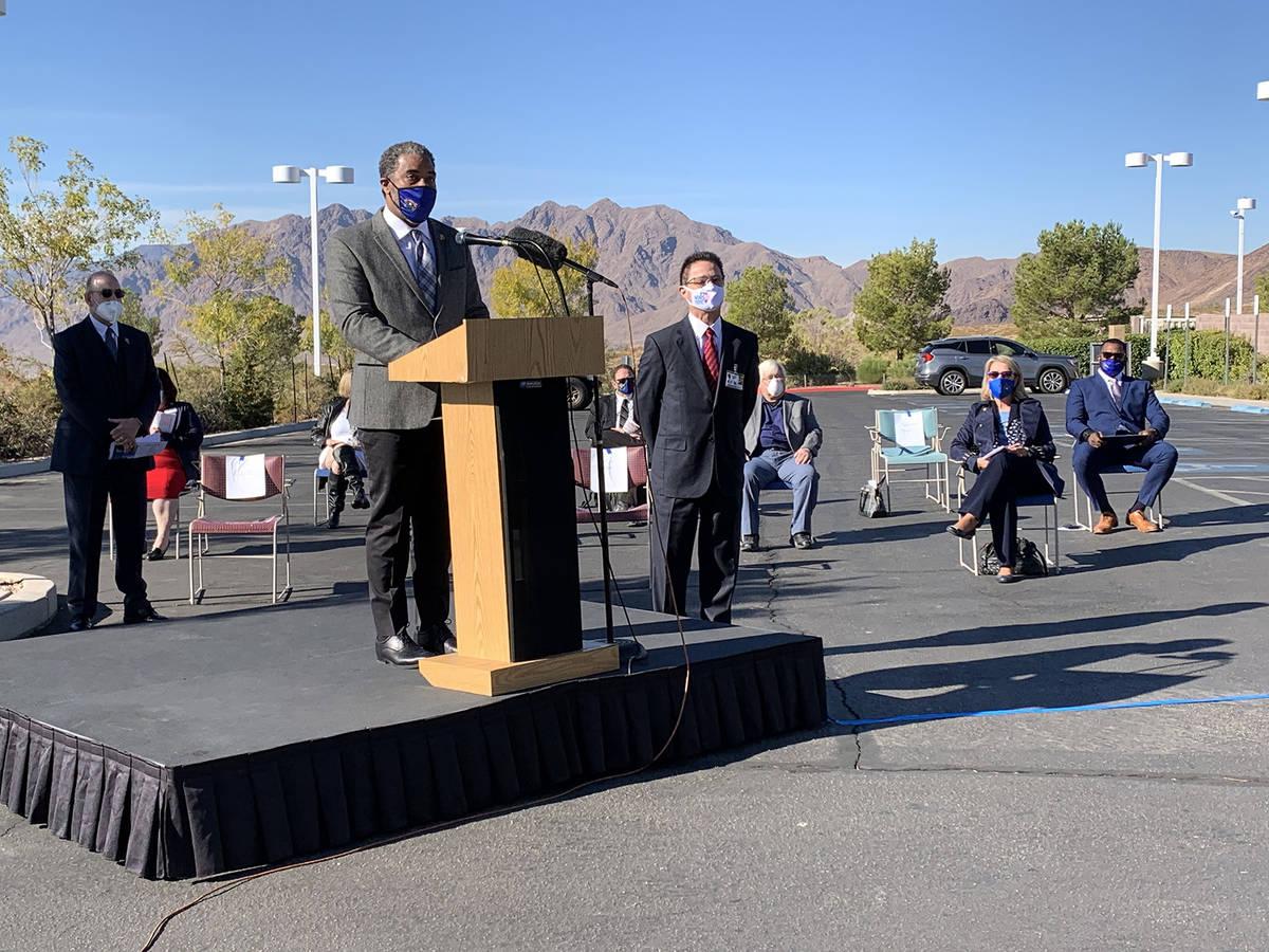 (Hali Bernstein Saylor/Boulder City Review) Rep. Steven Horsford, at podium, presents a congres ...