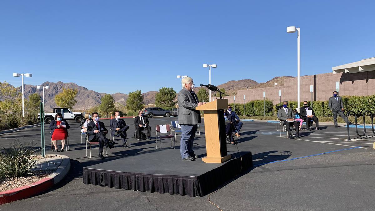 (Hali Bernstein Saylor/Boulder City Review) Boulder City Mayor Kiernan McManus reads a proclama ...