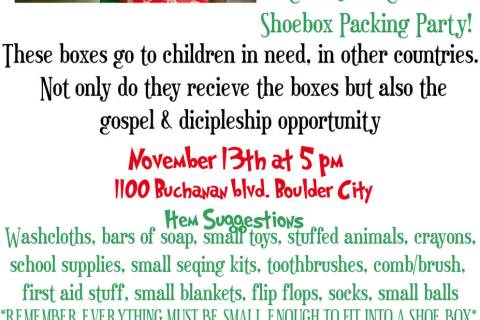 Faith Christian Church, 1100 Buchanan Blvd., is hosting a packing party for Operation Christmas ...