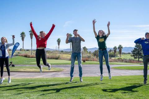 (Jamie Jane/Boulder City Review) Boulder City High School athletes, from left, Ava Wright, Kamr ...