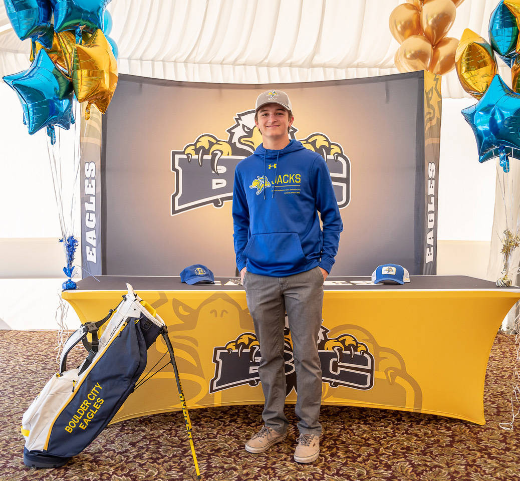 (Jamie Jane/Boulder City Review) Blake Shaper, a senior at Boulder City High School, signed his ...