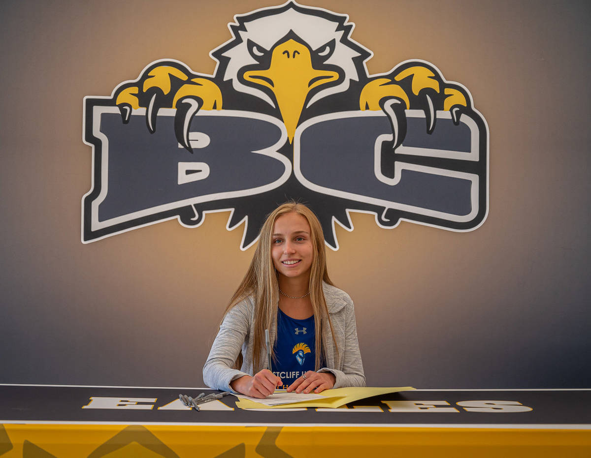 (Jamie Jane/Boulder City Review) Boulder City High School senior Ava Wright has committed to pl ...