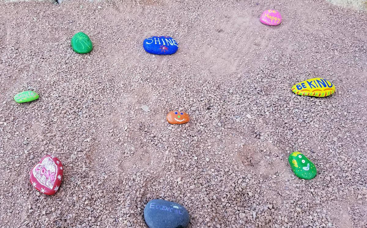 Celia Shortt Goodyear/Boulder City Review The rocks in Boulder City High School's kindness gard ...