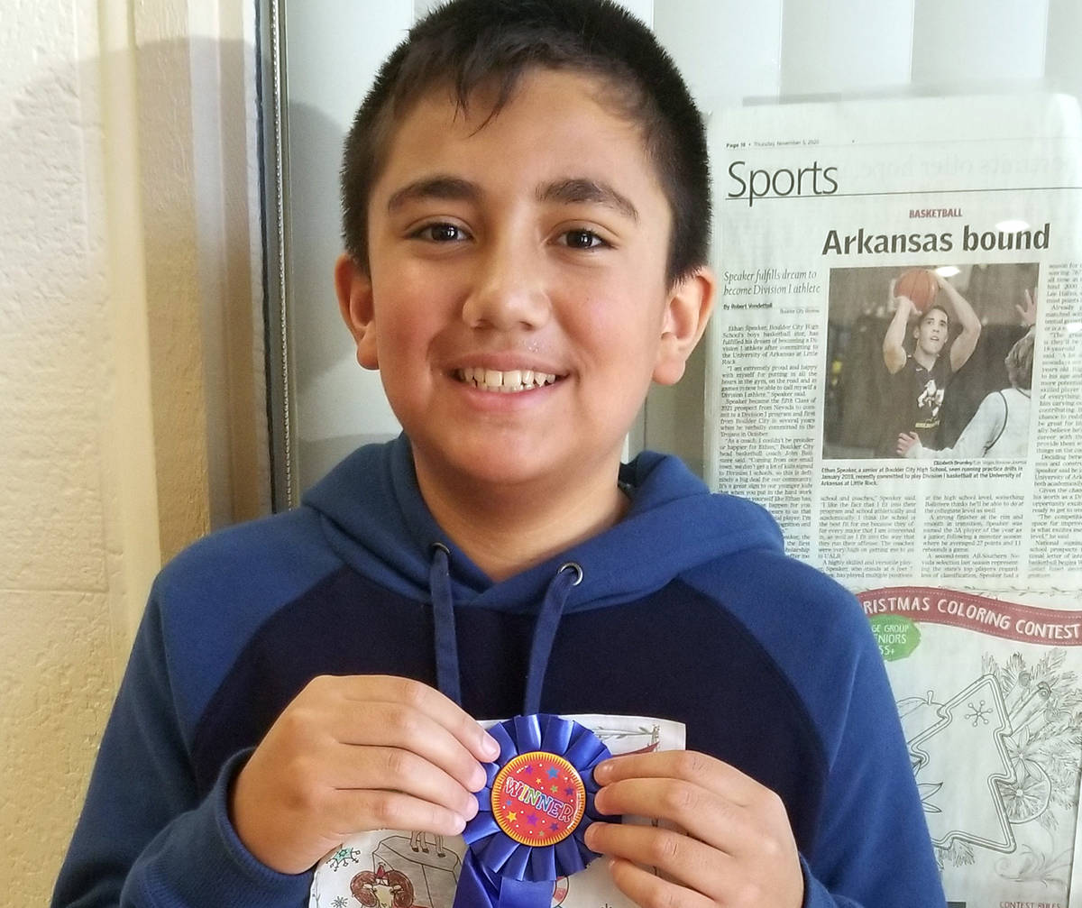 Celia Shortt Goodyear/Boulder City Review Christian Mojado, 12, won first place for his Rudolph ...
