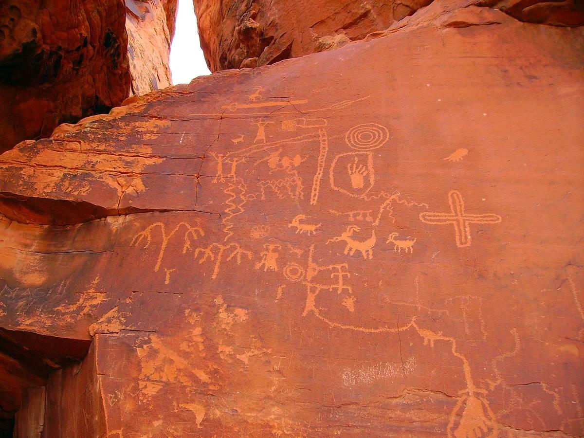 (Deborah Wall) Petroglyphs like these found at Atlatl Rock can be seen throughout Valley of Fir ...
