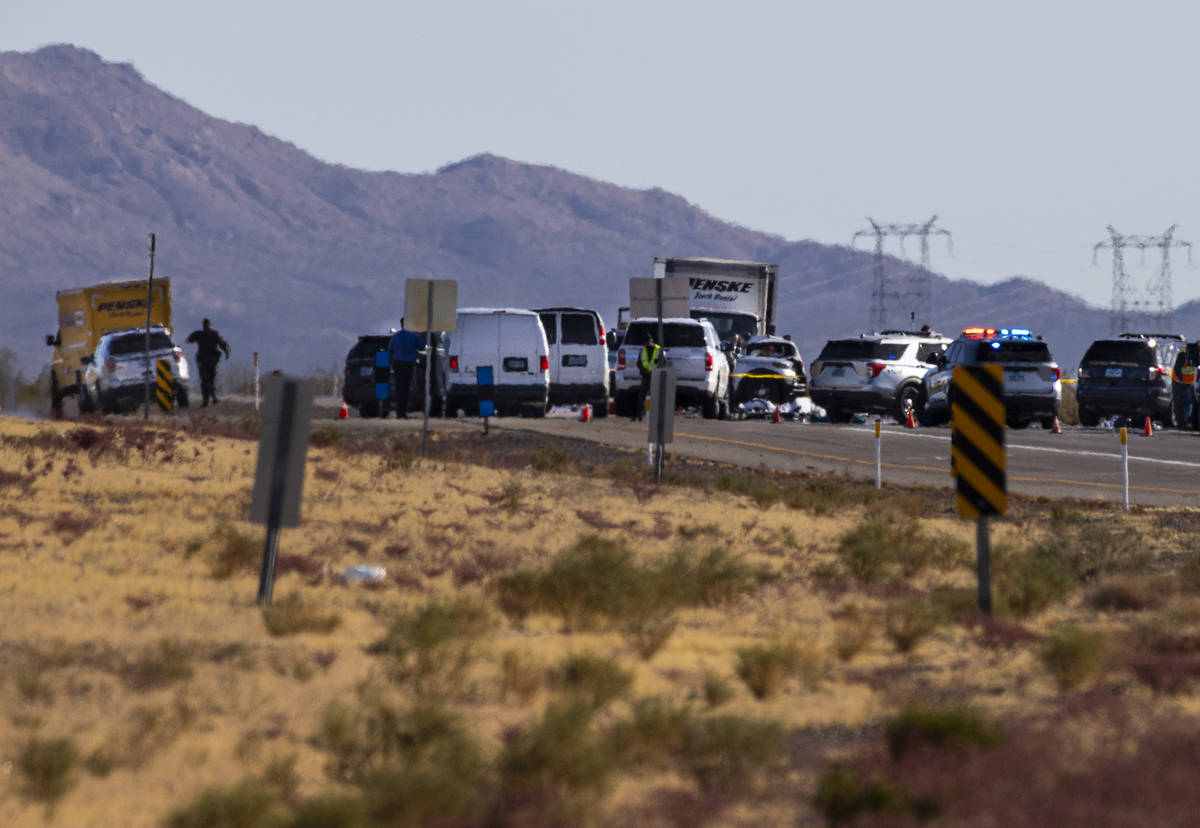(Chase Stevens/Las Vegas Review-Journal) Nevada Highway Patrol troopers respond to the scene of ...