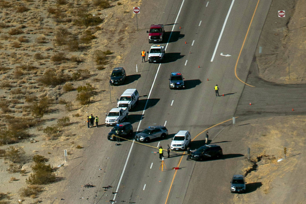 (L.E. Baskow/Las Vegas Review-Journal) The Nevada Highway Patrol works the scene of a fatal cra ...