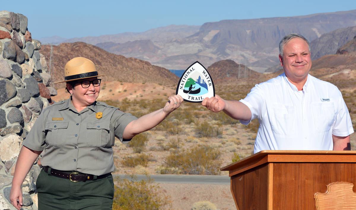 Lake Mead Recreation Area Superintendent Margaret Goodro, left, and U.S. Secretary of the Inter ...