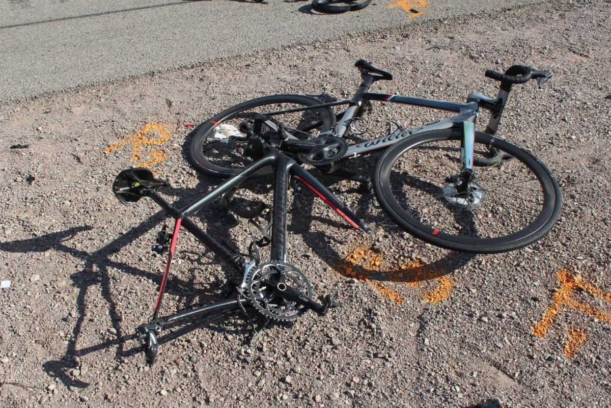(Nevada Highway Patrol) The remains of several bicycles that were hit by a box truck on U.S. Hi ...