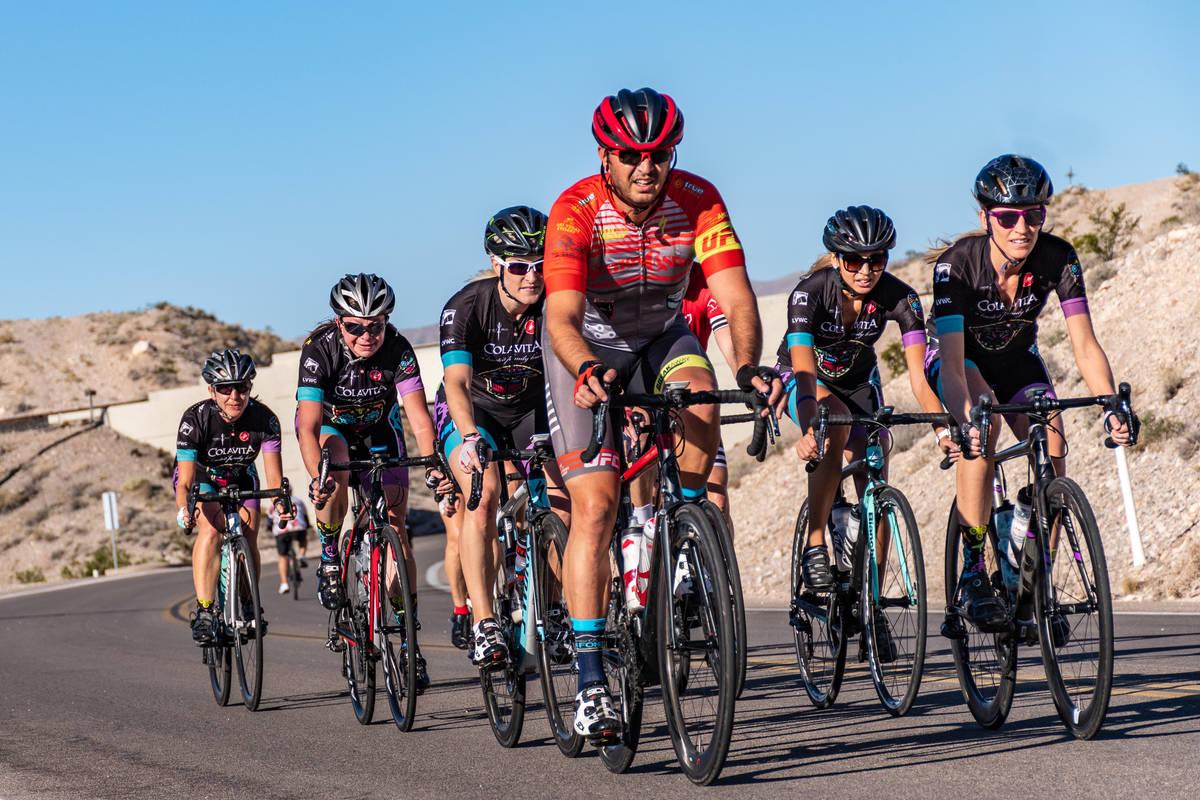 (Hugh Byrne/Breakaway Cycling) Aksoy Ahmet leads a group of team riders on Las Vegas Boulevard ...