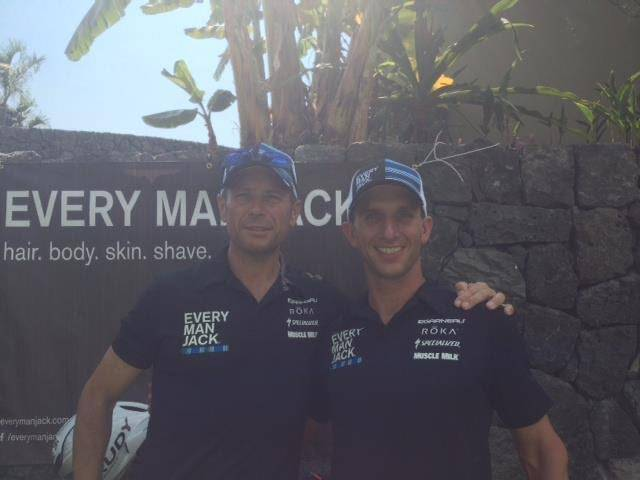 (Adam Carlson) Tom Trauger, left, with his friend and triathlon teammate Adam Carlson.