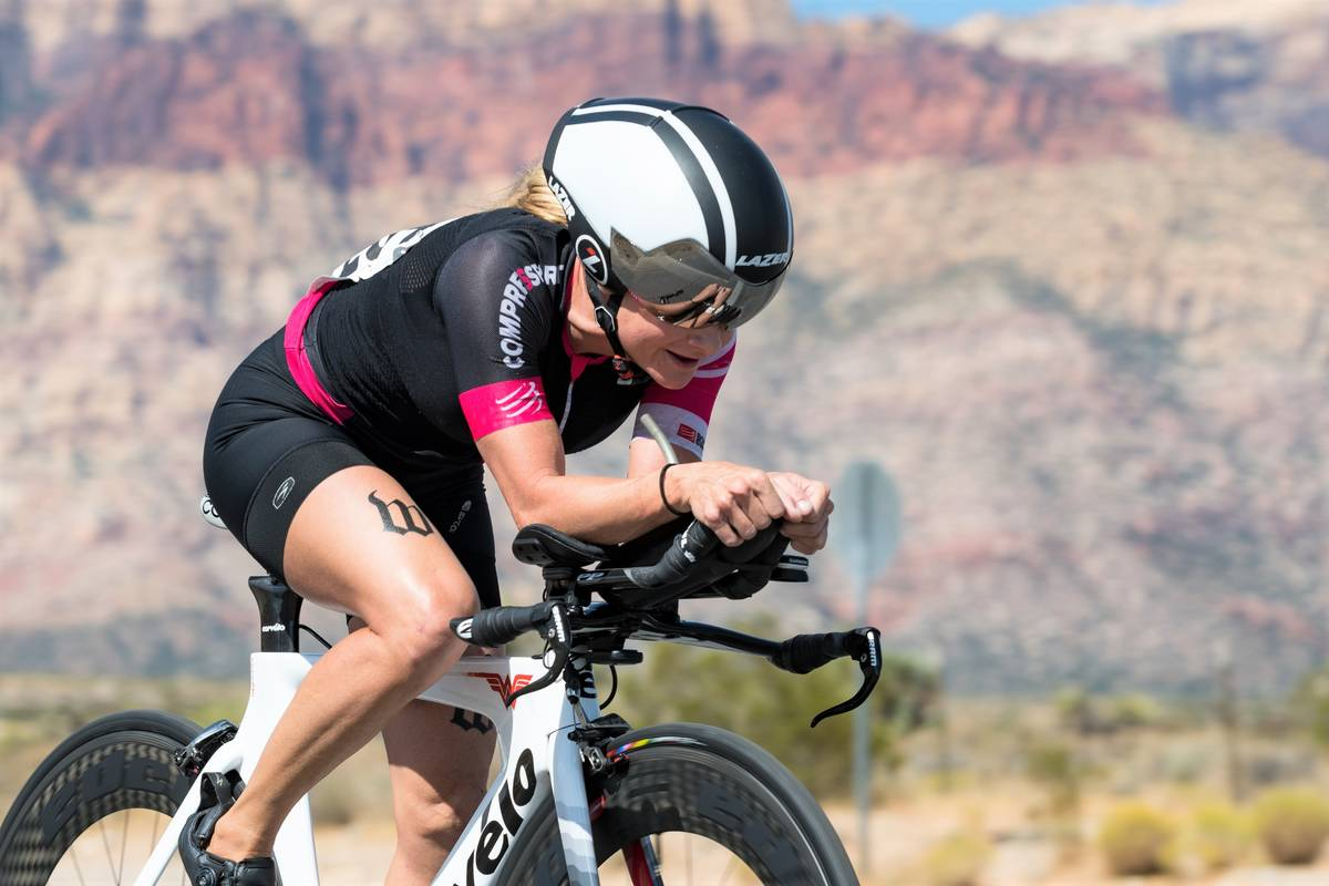 (Hugh Byrne/Breakaway Cycling) Erin Ray competes in the Red Rock Time Trial in 2017