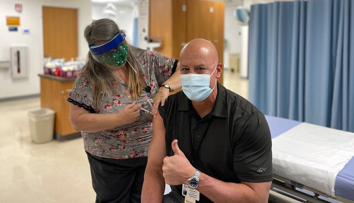 Boulder City Hospital Boulder City Hospital Chief Nursing Officer Andre Pastian administers the ...