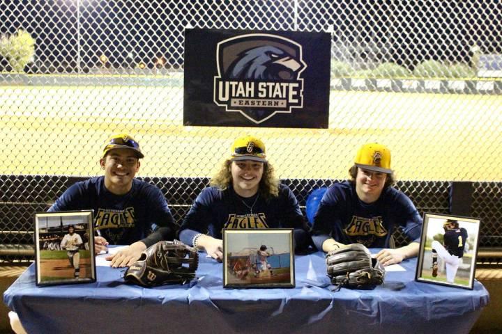 (Steve Connell) Boulder City High School baseball stars, from left, seniors Deavin Lopez, Blaze ...