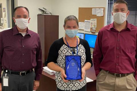 Boulder City Carol Lelles, center, was named Boulder City's employee of the year. Acting City M ...