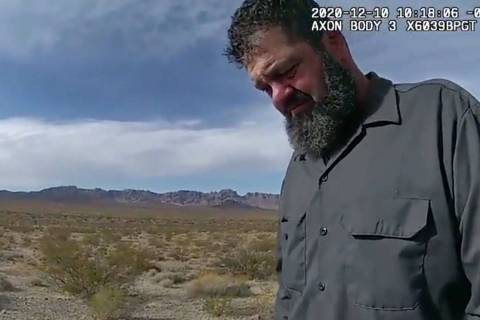 (Nevada Highway Patrol) This screenshot from a Nevada Highway Patrol body camera video shows Jo ...