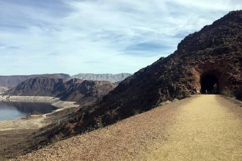 The Historic Railroad Trail at Lake Mead National Recreation Area offers views of Lake Mead as ...