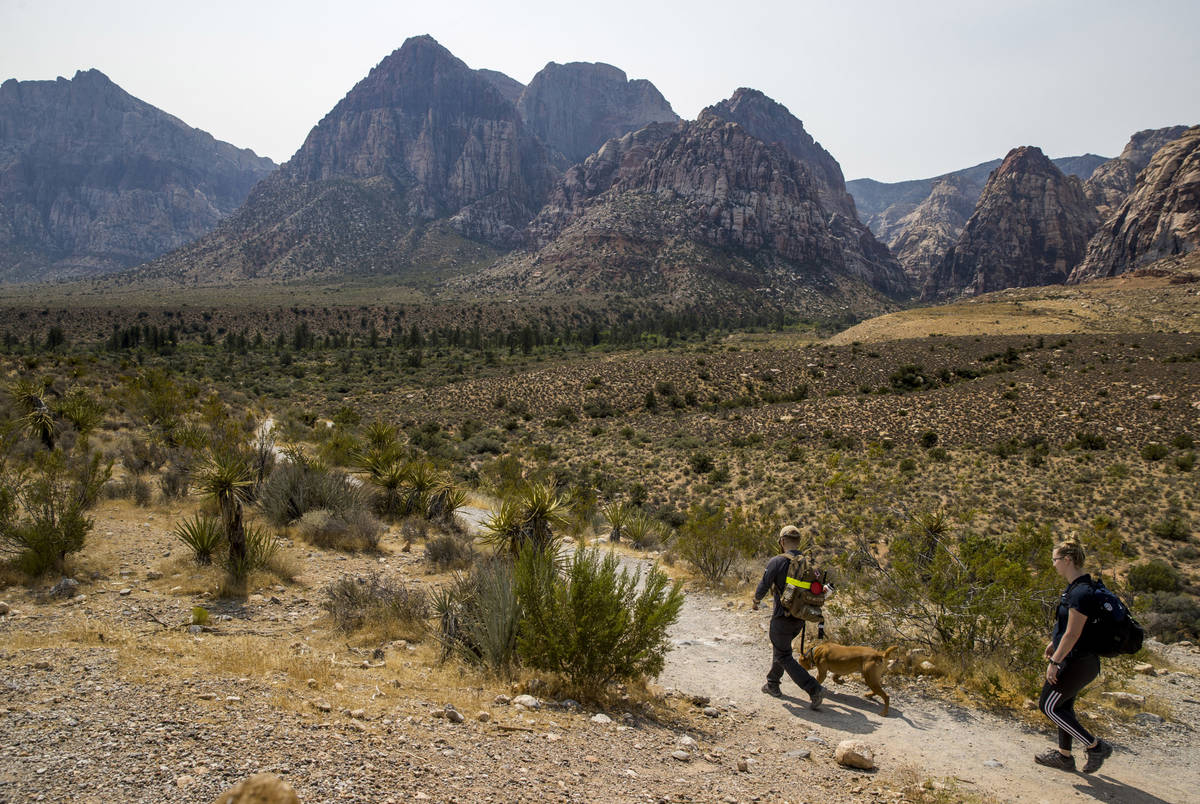 (L.E. Baskow/Las Vegas Review-Journal) Hikers make their way along the Pine Creek Canyon trail ...