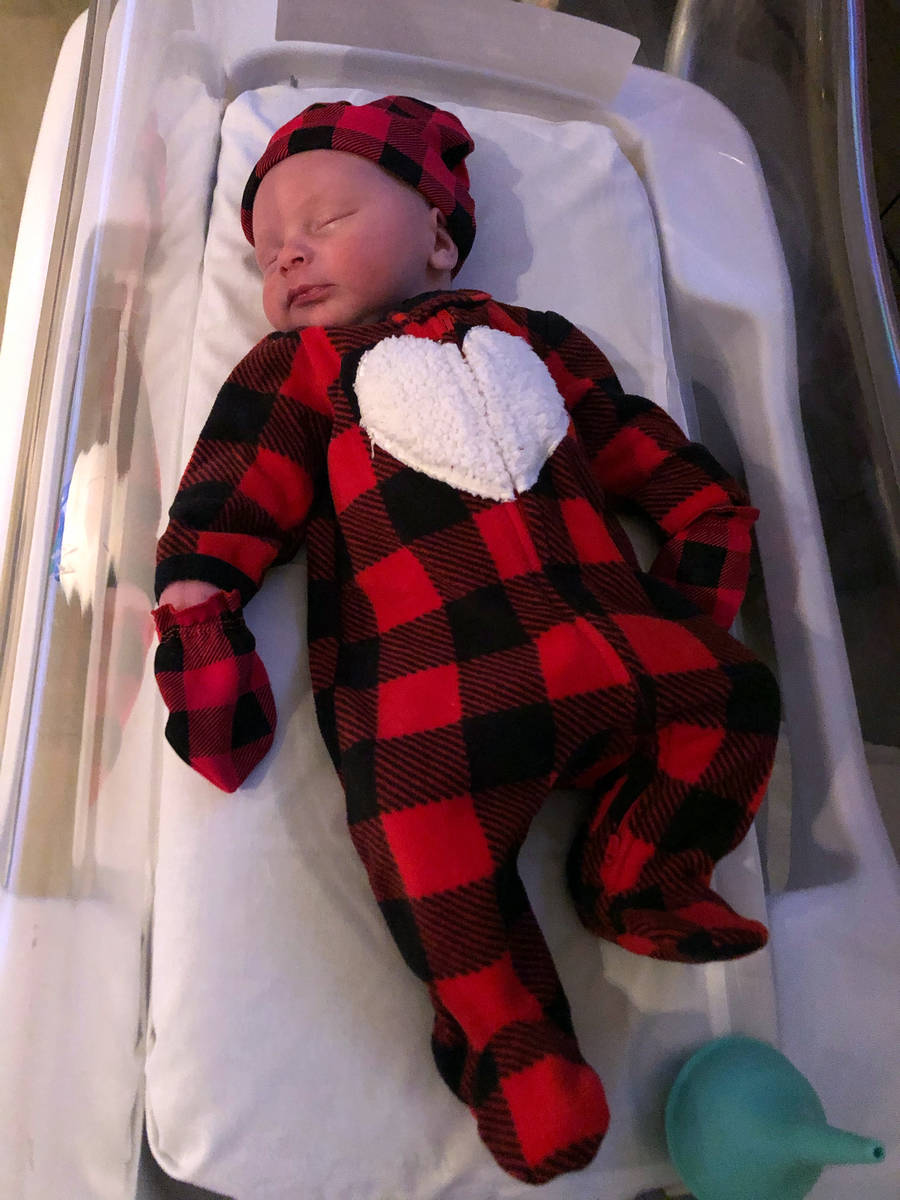 Brad Appleby Carter Gleich is the first baby born in 2021 at Southern Hills Hospital. His mothe ...