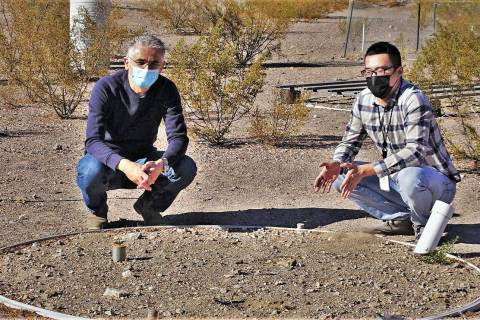 (DRI/Alison Swallow) Desert Research Institute scientists Markus Berli, Ph.D., left, and Yuan ...