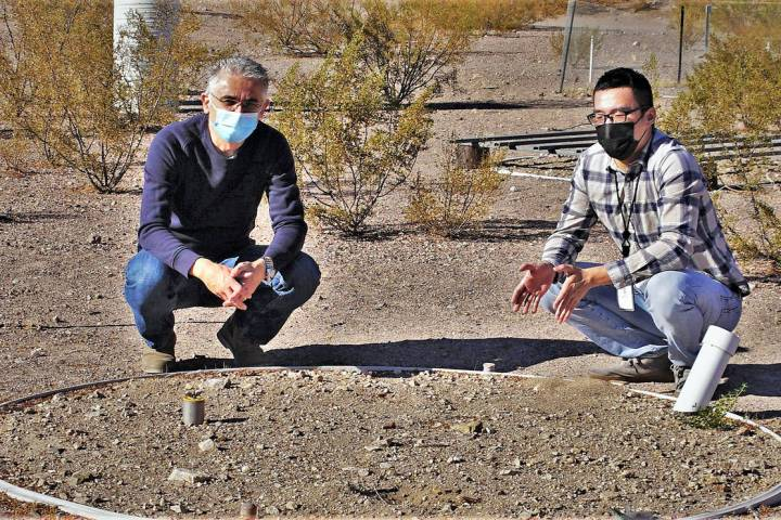 (DRI/Alison Swallow) Desert Research Institute scientists Markus Berli, Ph.D., left, and Yuan ...