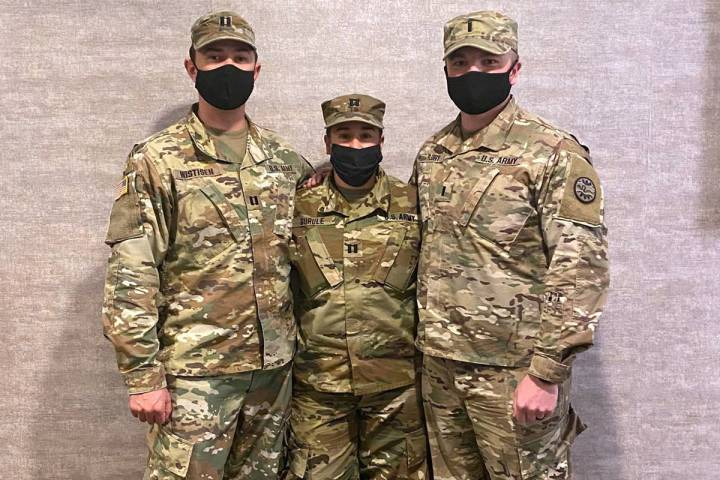 Nevada National Guard Boulder City resident U.S. Army Capt. Tana Gurule, center, helped saved a ...