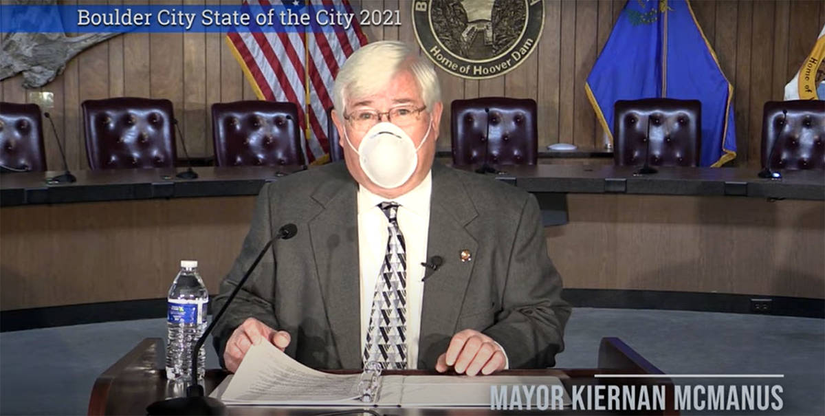 Boulder City Mayor Kiernan McManus delivered his 2021 State of the City virtually Jan. 21 from ...