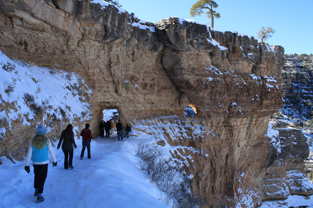 (Deborah Wall) Day hikers who come well prepared can hike down the Bright Angel Trail, even in ...