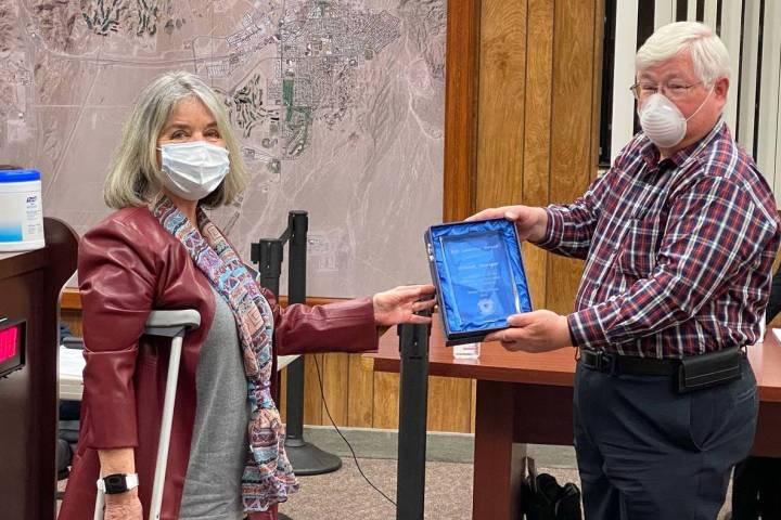 Boulder City Mayor Kiernan McManus presents the 21st annual Bill Andrews Award to Deborah Finne ...