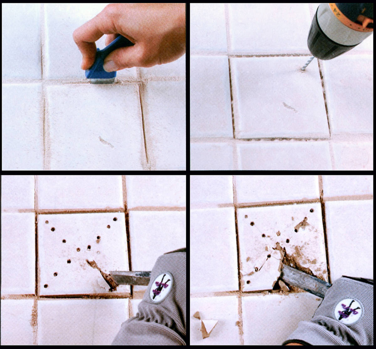 (Norma Vally) To break out old tiles, first remove the grout. Then, make small divots in the sh ...