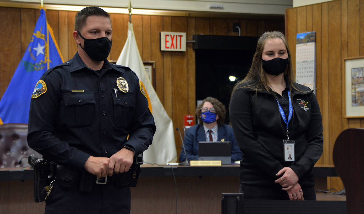 Celia Shortt Goodyear/Boulder City Review Boulder City Police officer Brandon Blake and public ...