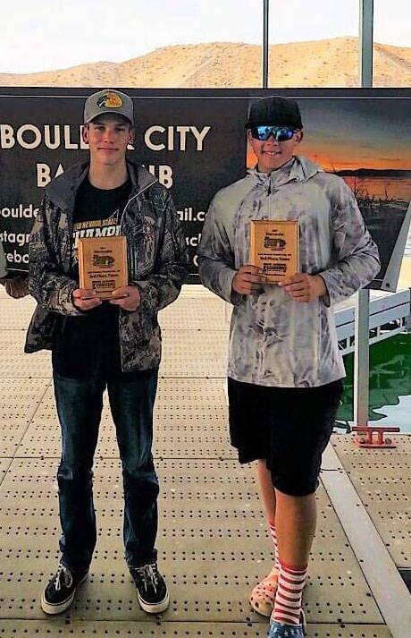 (Bri Osman Easter) Boulder City Bass Club members Charlie Stewart and Dodger Smith, freshmen at ...