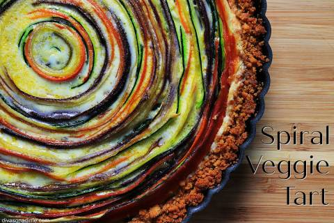 (Patti Diamond) Thinly sliced vegetables arranged in a spiral are the stars of this colorful tart.