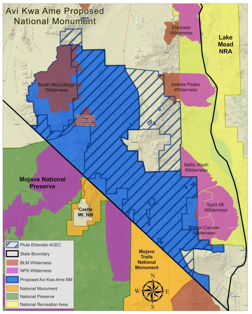 Boulder City The Avi Kwa Ame proposed national monument would connect Lake Mead National Recrea ...