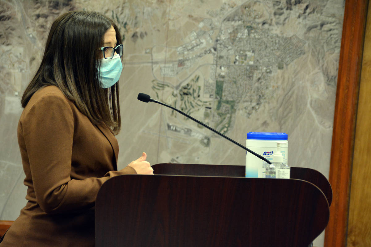 Celia Shortt Goodyear/Boulder City Review Acting City Attorney Brittany Walker answers a questi ...