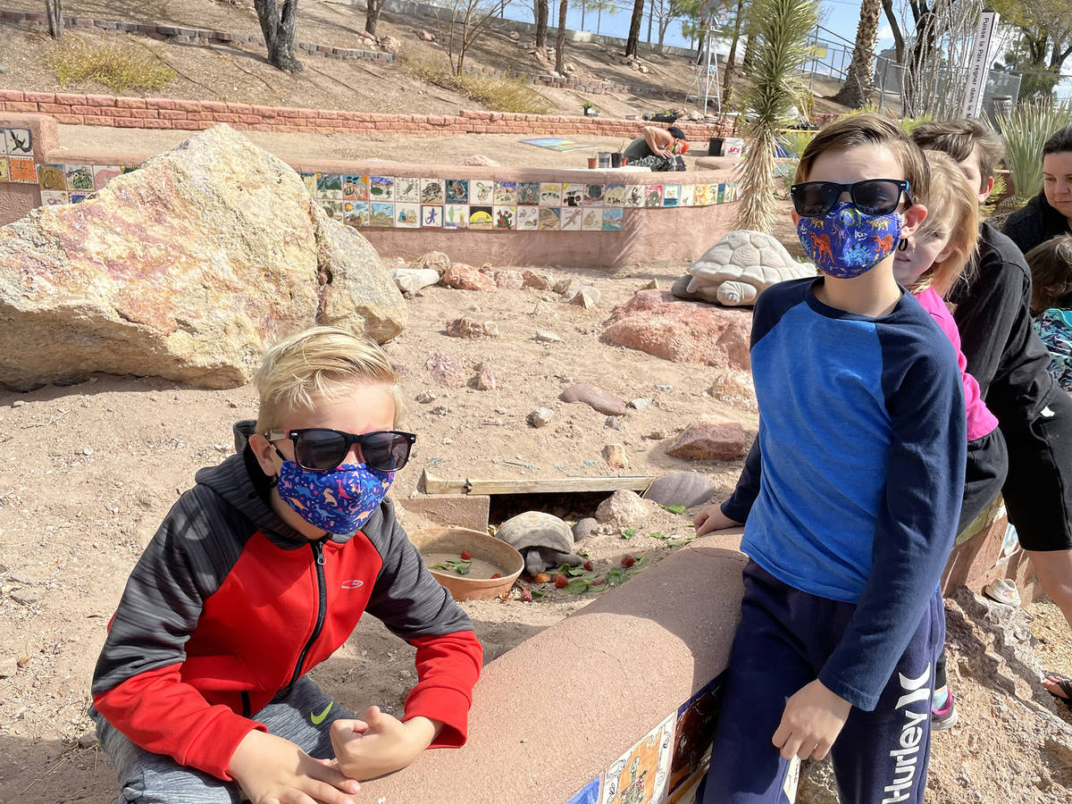 King Elementary School Will Schrock, left, and his brother Bryce Schrock visit the new desert ...