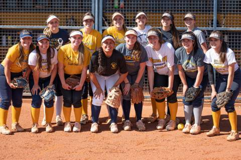 (Jamie Jane/Boulder City Review) Members of Boulder City High School's varsity softball team ...