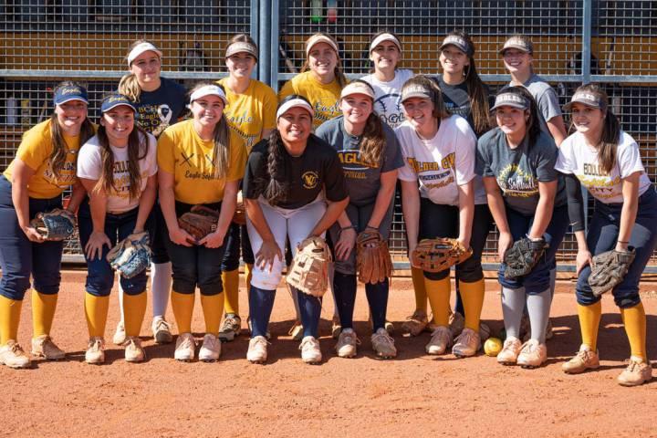(Jamie Jane/Boulder City Review) Members of Boulder City High School's varsity softball team ...